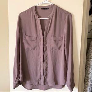XS mauve button up blouse